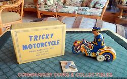 Vintage Marx 1930's Tricky Motorcyle Cop Tin Wind Up With Box Very Rare  👀