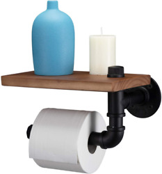 Paranta Pipe Toilet Paper Holder Rustic Farmhouse Tissue Roll Hanger With Wood