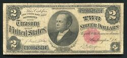 """Fr. 246 1891 2 Two Dollars """"windom"""" Silver Certificate Currency Note"""