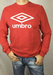 Umbro Brand With Bright Red Long Sleeves Retro Sweat Top Crew Neck Rib Cuffs