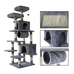 70#x27;#x27; Multi Level Cat Tree Tall Play House Climber Activity Tower for Large Cats