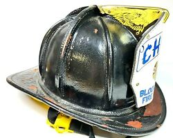 Fire Helmet - Vintage Cairns Leather W/ Bloomfield Fire Dept. Chief Shield