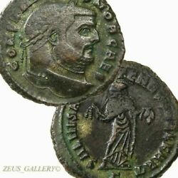 Constantius I Rare Carthage Mint Goddess Fruit Large Ancient Roman Imperial Coin