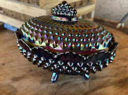 Fenton 70's Amethyst Electric Purple Carnival Glass Hobnail Footed Candy Dish