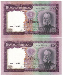Portugal 2 X 100 Escudos 1961 Pick 165 Running Numbers Unc-