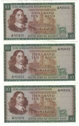 South Africa 3 X 10 Rand 1967 -1974 Running Numbers Pick 114 B Unc