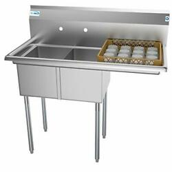 - Sb121610-16r3 2 Compartment Stainless Steel Nsf Commercial Right Drainboard