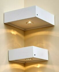 Set Of 2 Corner Floating Lighted Wall Mounted Shelves W/ Remote Control White