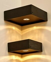 Set Of 2 Corner Floating Lighted Wall Mounted Shelves W/ Remote Control Black