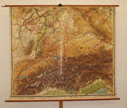 Old Schulwandkarte South Germany Alps Vintage Wall Map 78 11/16x68 1/2in 1920
