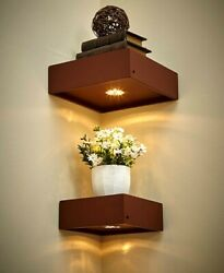 Set Of 2 Corner Floating Lighted Wall Mounted Shelves W/ Remote Control Brown