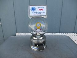 Vintage Ford Stainless Steel 10 Cent Gumball Machine With Glass Globe And Topper 2