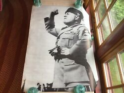 Rare Vintage Poster Mussolini Benito Duce New Old Stock 1969 30 X 40