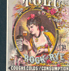 Rock And Rye 1800's Consumption Cure Tolu Whiskey Style Cough Remedy Ad Trade Card