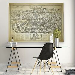 Antique Rome Roma Map - Premium Gallery Wrapped Canvas Large