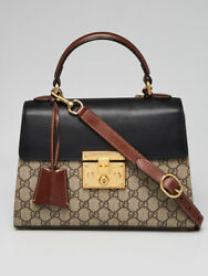 Gucci Black GG Supreme Coated Canvas and Leather Signature Padlock Small Top Han $1290.00