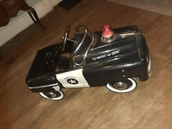 Vintage Police Highway Patrol Kid Metal Pedal Car By Burns Novelty And Toy Co