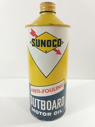 Vintage Sunoco Anti-fouling Outboard Motor Oil 32oz Metal Cone-top Can Vg
