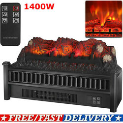 1400w 23 Electric Fireplace Log Heater Realistic Flame Hearth Insert Wood Fire