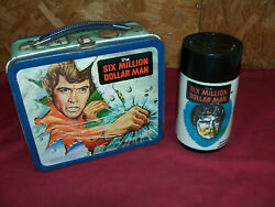 Old 1977 Six Million Dollar Man Metal Lunch Box And Thermos Vintage Tv Show 6 70's