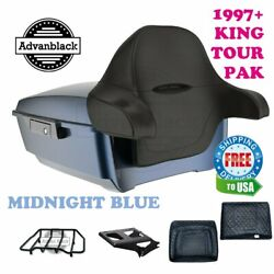 Midnight Blue King Tour Pack Pad Luggage Black Hinges And Latch Fit Harley 97-20