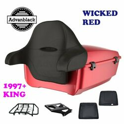 Wicked Red King Tour Pack Trunk Black Hinges And Latch Fit 1997-2020 Harley