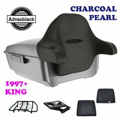 Charcoal Pearl King Tour Pack Trunk Black Hinges And Latch Fit 1997-2020 Harley