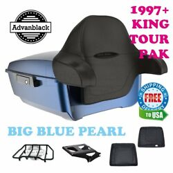 Big Blue Pearl King Tour Pack Trunk Black Hinges And Latch Fit 1997-2020 Harley