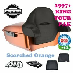 Scorched Orange King Tour Pack Trunk Black Hinges And Latch Fit 1997-2020 Harley