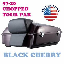 Black Cherry Chopped Tour Pack Luggage Trunk Fit 97-19 Harley Street Road Glide