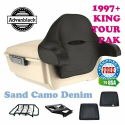 Sand Camo Denim King Tour Pack Trunk Black Hinges And Latch Fit 1997-2020 Harley