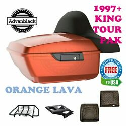 King Tour Pack Luggage Orange Lava Black Hinges And Latch Fit 97-20 Harley Touring