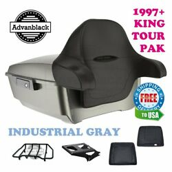 Industrial Gray King Tour Pack Trunk Black Hinges And Latch Fit 1997-2020 Harley
