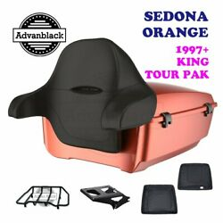 Sedona Orange King Tour Pack Trunk Black Hinges And Latch Fit 1997-2020 Harley
