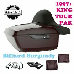 Billiard Burgundy King Tour Pack Black Hinges And Latch Fit Harley Touring 97+