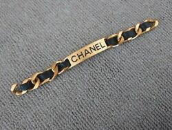 Authentic Logo Letter Black Leather Chain Bracelet Used From Japan F/s