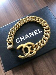 Auth Vintage Cc Logo Charm Thick Chain Bracelet Gold Used From Japan F/s
