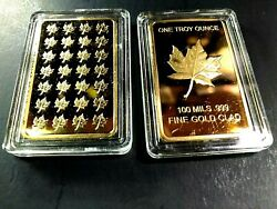 Gold -100 Mils .999 Fine Gold Clad Bar / One Troy Ounce