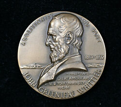 Hall Of Fame For Great Americans John Greenleaf Whittier Bronze Medal W/ Box