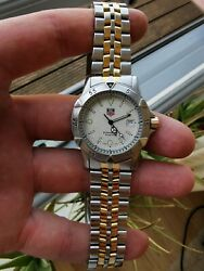 Vintage Tag Heuer 1500 Series Wd1221-k-20 Quartz 18k Gold Plated Two Tone Watch