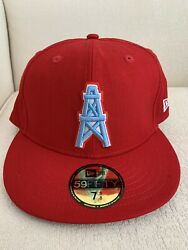 New Era Nfl Houston Oilers Retro 59fifty 5950 Size 7 3/8 Hat Cap Red New