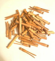 50 Antique Wood Clothes Pins Laundry Round Head Crafts Altered Art. 3 3/4 Long