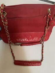 Chanel Chain Shoulder Bag Vintage Red Nylon Razor Women. With Authenticity Card $699.00