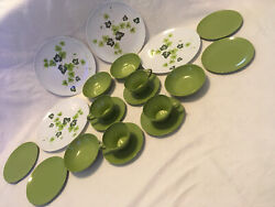 Vtg 20 Pc Texas Ware Melmac Green Ivy 4 Place Settings Plates Cups Bowls Saucers