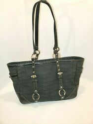Coach Signature Gallery Sliver Black Pattern Leather Tote Bag Purse D0878 f12346 $50.98