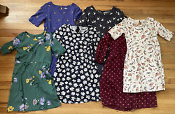 Lot Of 6 Girls Old Navy 3/4 Sleeve Dresses Size 6-7 Blue/green/floral