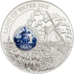 Land Of Water Windmill Royal Delft™ 50g Silver Coin Cook Island 2018