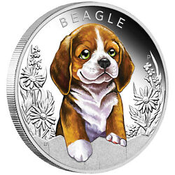 BEAGLE Puppies 1 2 oz Silver Proof Coin Colorized Tuvalu 2018