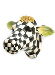 Mackenzie Childs Courtly Check Small Country Farmhouse Cow Head New 198 M21-jn