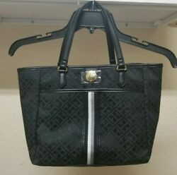 Tommy Hilfiger Womens Small Tote With Signature Stripe Black Monogram $28.99